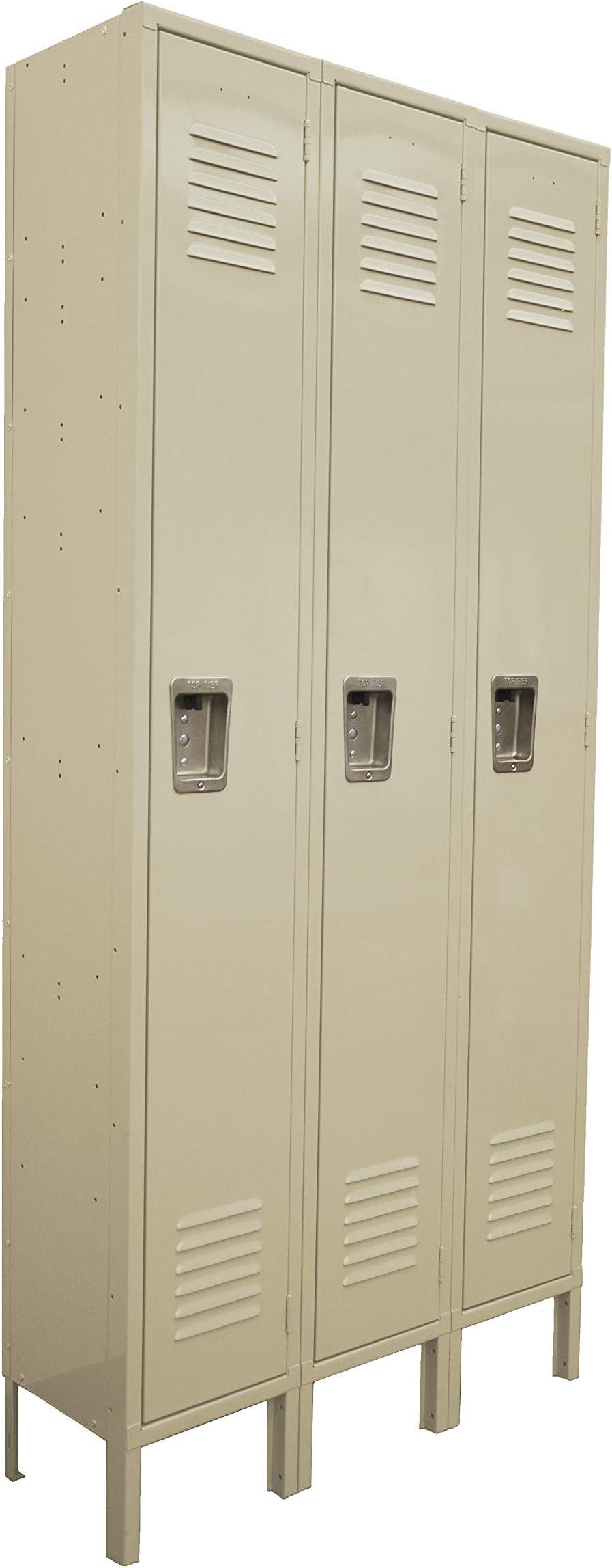One Tier Locker 6 feet high 3 Wide Unit w/ 3 Doors with Louvers 12W x 18D x 78H Unassembled Tan Metal Locker Perfect as a School Locker, Gym Locker or Lockers for Employees