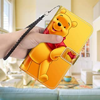 DISNEY COLLECTION Leather Folio Flip Case Compatible iPhone 7 Plus, iPhone 8 Plus 5.5inch Hd Pooh Bear Wallpaper Fold
