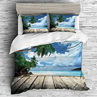 All Season Flannel Bedding Duvet Covers Sets for Girl Boy Kids 4 Pcs (Double Size) Art,Tropical Island Beach from The Deck Pier by The Ocean with PalmTrees Exotic Print,Green Navy Brown