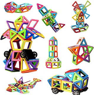 Innoo Tech Magnetic Building Blocks, Magnetic Building Tiles, 76+1 Pieces Magnetic Shapes, ABS Safety Plastic, Instruction...
