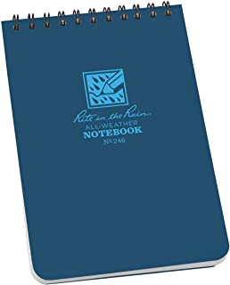 "Rite in the Rain Weatherproof Top Spiral Notebook, 4"" x 6"", Blue Cover, Universal Pattern, 3 Pack (No. 246-3)"