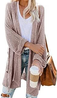Womens Open Front Kimono Cardigan Sweater Casual Long Sleeve Boho Loose Knit Drape Cape Sweater Cloak Outwear