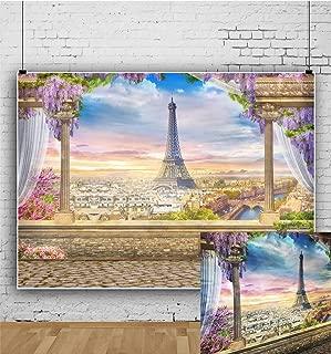 8x6.5ft Laeacco Vinyl Photography Background Ancient Architecture Balcony Paris View Eiffel Tower Aerial City Topview Pillar Curtain Romantic Fancy Flowers Wedding Girls Lover Photo Studio Props
