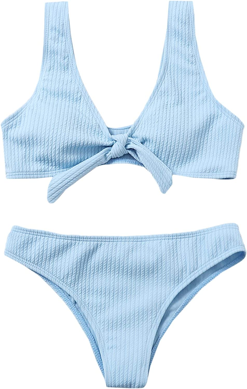 SOLY HUX Women's Tie Knot Front Bikini Bathing Suit 2 Piece Swimsuits