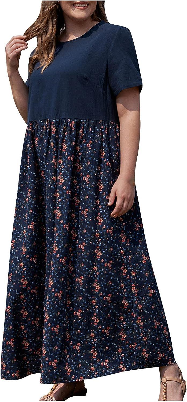 Howley Womens Dresses Summer Plus Size Cotton Linen Sundress Casual Short Sleeve Print Splicing Long Maxi Dress