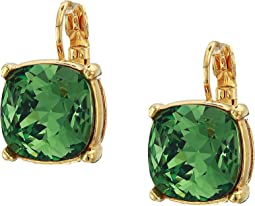 12 mm Gold Eurowire/Erenite Faceted Square Stone Earrings