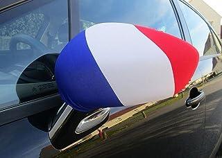 Pack de 2 Housses Standard Drapeau Français pour Rétroviseur de Voitures,Supporter France Tricolore.