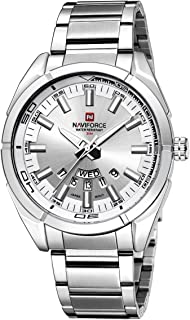 Naviforce Men's White Dial PU Leather Analogue Classic Watch - NF9038-SW