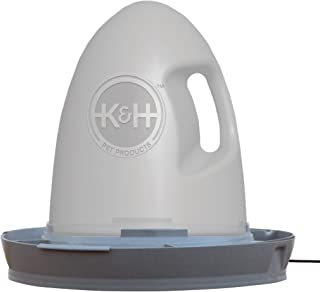 K&H Pet Products Thermo-Poultry Waterer 2.5gal. (Heated) Gray 60 Watts - No Roost Top & Non-Spill Refill