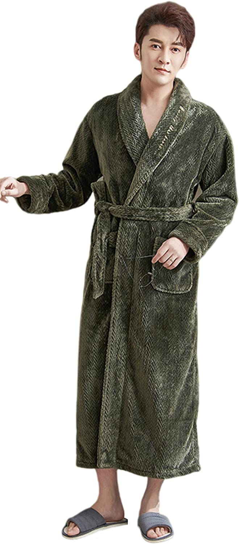 Men's Flannel Knitted Night Gown Long Sleeve Plus Fleece Bathrobe Loose Casual Home wear