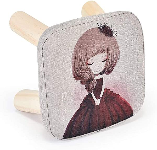 Carl Artbay Wooden Footstool Dark Red Cartoon Girl Low Stool Changing His Shoes Stool Small Chair Sofa Wooden Bench Home