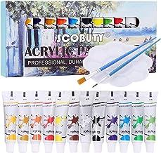 Pinturas Acrílicas, Acrylic Paint Set, Set de 12 (Tubos 12ml)tubos de Pinturas Acrílicas, Viene con 2 pinceles y una paleta, El juego de acrílicos de alta calidad para artistas, principiantes o niños