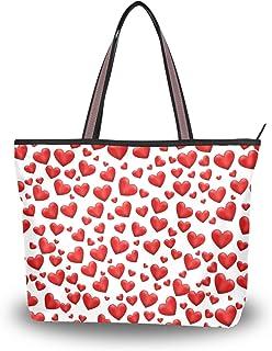 Ahomy Bolsas de mano para mujer, día de San Valentín, corazón rojo, gran capacidad, asa superior, bolsos y bolsos