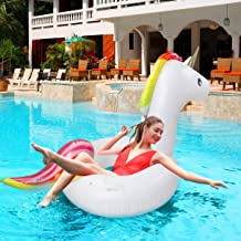 Keenstone Giant Inflatable Unicorn Pool Float Floatie Ride On with Fast Valves Large Rideable Blow Up Summer Beach Swimming Pool Party Lounge Raft Decorations