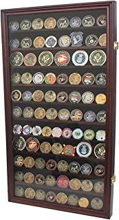 Large Military Challenge Coin Display Case Cabinet Rack Holder (Mahogany Finish)