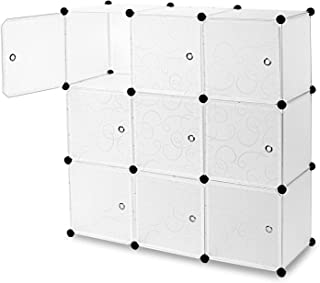 "Work-It! Cube Storage Organizer - 9 Cubes | Stackable Portable Closet Organizer Shelves, Modular Cabinet with Doors and Hammer, Translucent White, 42"" W x 42"" H x 14"" D"