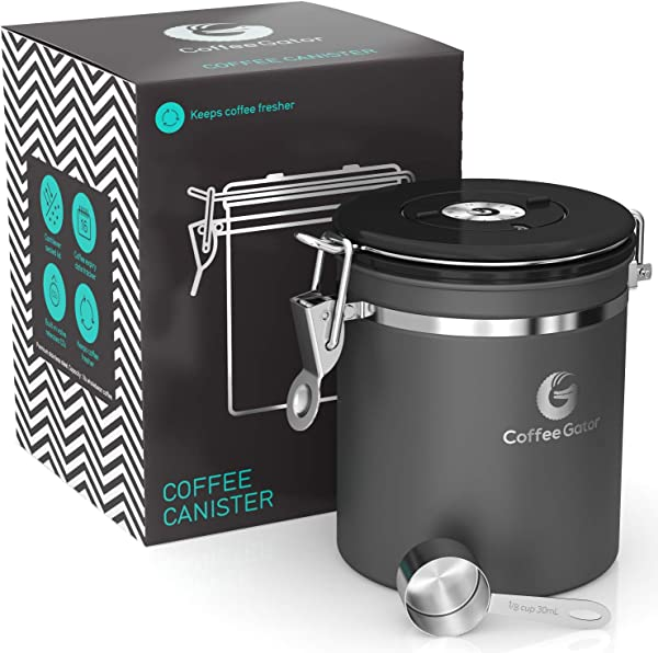 Coffee Gator Stainless Steel Container Fresher Beans And Grounds For Longer Canister With Date Tracker CO2 Release Valve And Measuring Scoop Medium Gray