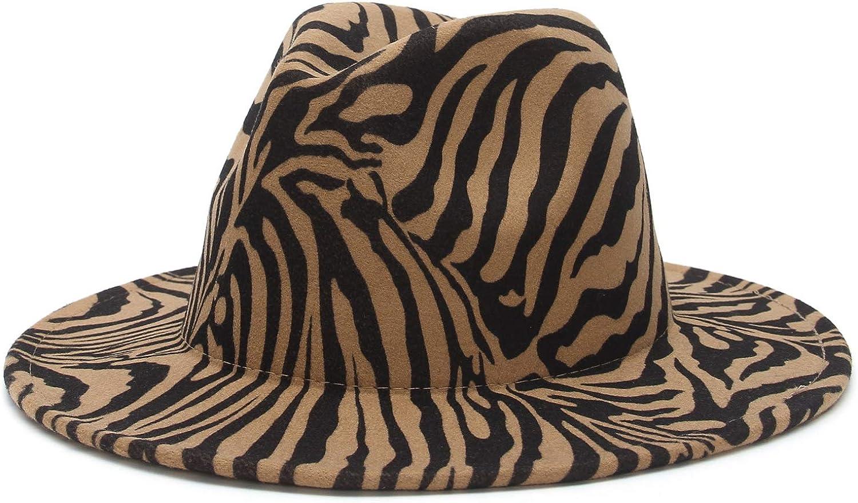 EOZY Womens Fedora Hat Muliticolor Zebra Print Wide Brim Panama Bowler Hat