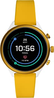 Women's Sport Heart Rate Metal and Silicone Touchscreen Smartwatch, Color: White, Yellow (Model: FTW6053)