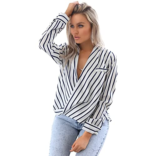 bb96361a3b0a0 Eliacher Women's Casual Striped Chiffon Blouses Loose Wrap Front Surplice  Long Sleeves Shirt