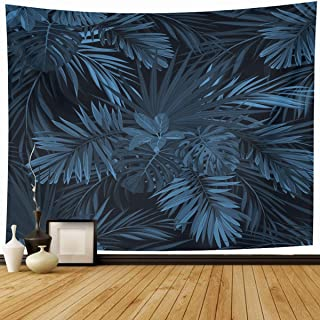 Ahawoso Tapestry Wall Hanging 60x50 Plant Blue Floral Dark Tropical Jungle Plants Abstract Forest Navy Pattern Palm Exotic Denim Phoenix Home Decor Tapestries Decorative Bedroom Living Room Dorm