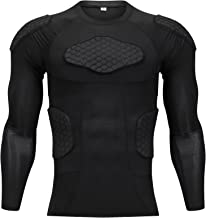TUOY Classic Padded Compression Shirt - Long Sleeve Padded Protective Shirt (Black)