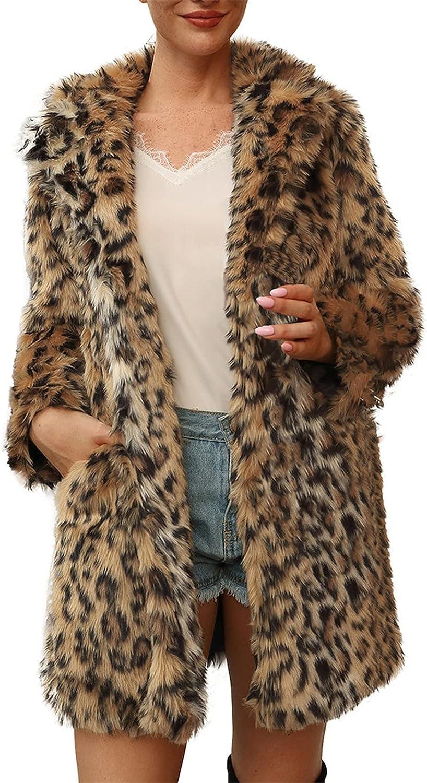 iLUGU Women's Winter Warm Turndown Faux Fur Leopard Cardigan Jacket Long Sleeve Jacket Coat Outerwear