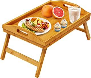 pipishell bamboo bed tray table breakfast serving tray with foldable legs for sofa, bed, food
