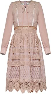 Pink Crochet Lace Luxury Dress Bow tie Collar Long Sleeve Knee Length Dresses