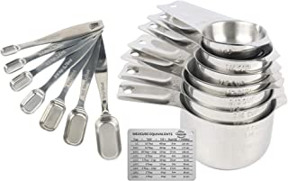 Stainless Steel Metal Measuring Cup and Spoon Set by Perfect Cheesecake Bakeware: 14 Piece Deluxe Kitchen Utensils - 7 Nesting Cups and 7 Stackable Spoons for Liquid or Dry Measurement - Cooking or Ba