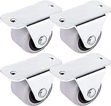 (4 stuks) 30 mm rubberen wieltjes metaal met plaat zacht niet-draaibaar niet-plastic meubel apparaat en uitrusting kleine ...