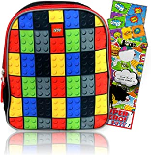 LEGO Backpack for Preschool & Toddlers Brick Design Bundled with Separately Licensed Reward Stickers & Bookmark