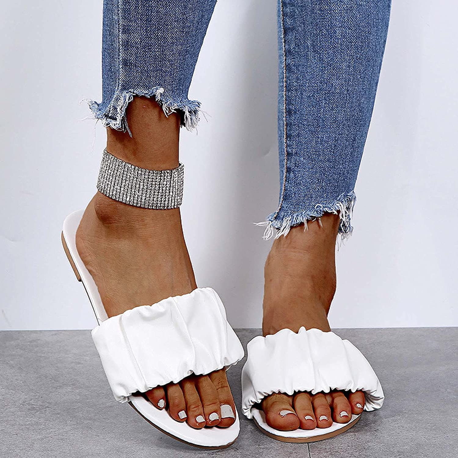 Yamx Open Toe Summer Beach Sandals,Solid Color Slippers Beach Fashion Folds Show Thin Feet Shoes Sandals