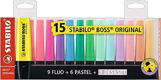 STABILO Tekstmarkeerstift - BOSS ORIGINAL – Desk set met 15 stuks - 9 lichtgevende kleuren, 6 pastelkleuren, meerkleurig