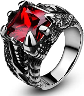SOMEN TUNGSTEN Men's Stainless Steel Ring Gothic Dragon Claw Design with Red Stone Size 7-13
