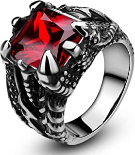 Men's Stainless Steel Ring Gothic Dragon Claw Design with Red Stone Size 7-13