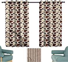 Agoza Sliding Door Curtains Floral Exotic Hibiscus Blooms for Bedroom Grommet Drapes W55x63L