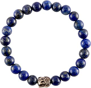 Spiritual Elementz Reiki Charged Gift Natural Stone (7-8 mm) Lapis Lazuli Stone Chakra Stretch Bracelet (21-24 Beads) Unis...