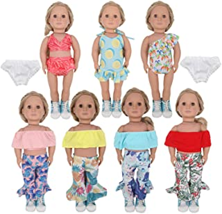 ZTWEDEN 14Pcs Doll Clothes Set for 18 Inch Girl Doll Including 18'' Baby Dolls Wear Clothes Suit Dress Bikini Swimsuit Pan...