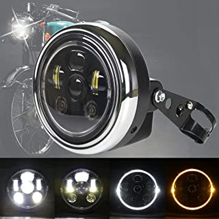 DDUOO Black 7inch LED Headlight with Headlight Mount Crystal W/Y Halo Ring for Yamaha Kawasaki Suzuki Honda CB400 Hornet Cafe Racer