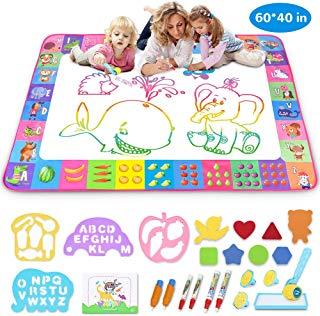 Aqua Magic Mat - Kids Painting Writing Doodle Board Toy - Color Doodle Drawing Mat Bring Magic Pens Educational Toys for Age 1 2 3 4 5 6 7 8 9 10 11 12 Year Old Girls Boys Age Toddler Gift (Pink)