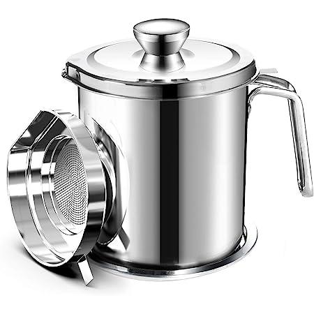 Chihee Oil Pot de Graisse pour bidon de Stockage en Acier Inoxydable avec bidon de 2 litres en Couvercle Anti-poussière pour Tamis à Mailles Fines Plaque antidérapante Stockage d'huile de friture