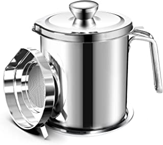 Chihee Oil Pot de Graisse pour bidon de Stockage en Acier Inoxydable avec bidon de 2 litres en Couvercle Anti-poussière po...