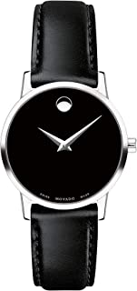 Movado Women's Museum Stainless Steel Watch with Concave Dot, Silver/Black Strap (Model: 607274)