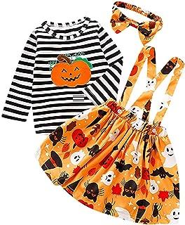 Toddler Girl Halloween Outfit,[3 Pcs] Long Sleeve Stripe Top+Strap Skirt+Headband 6M-4T Pumpkin School Dress Gift