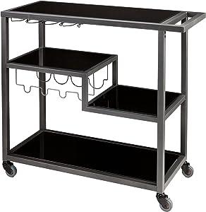 SEI Furniture Zephs Metal and Tempered Glass Locking Castor Wheels Bar Cart, Gunmetal/Black