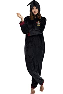INTIMO Harry Potter Juniors' Hooded One-Piece Pajama Union Suit - All 4 Houses Gryffindor, Slytherin, Ravenclaw, Hufflepuff