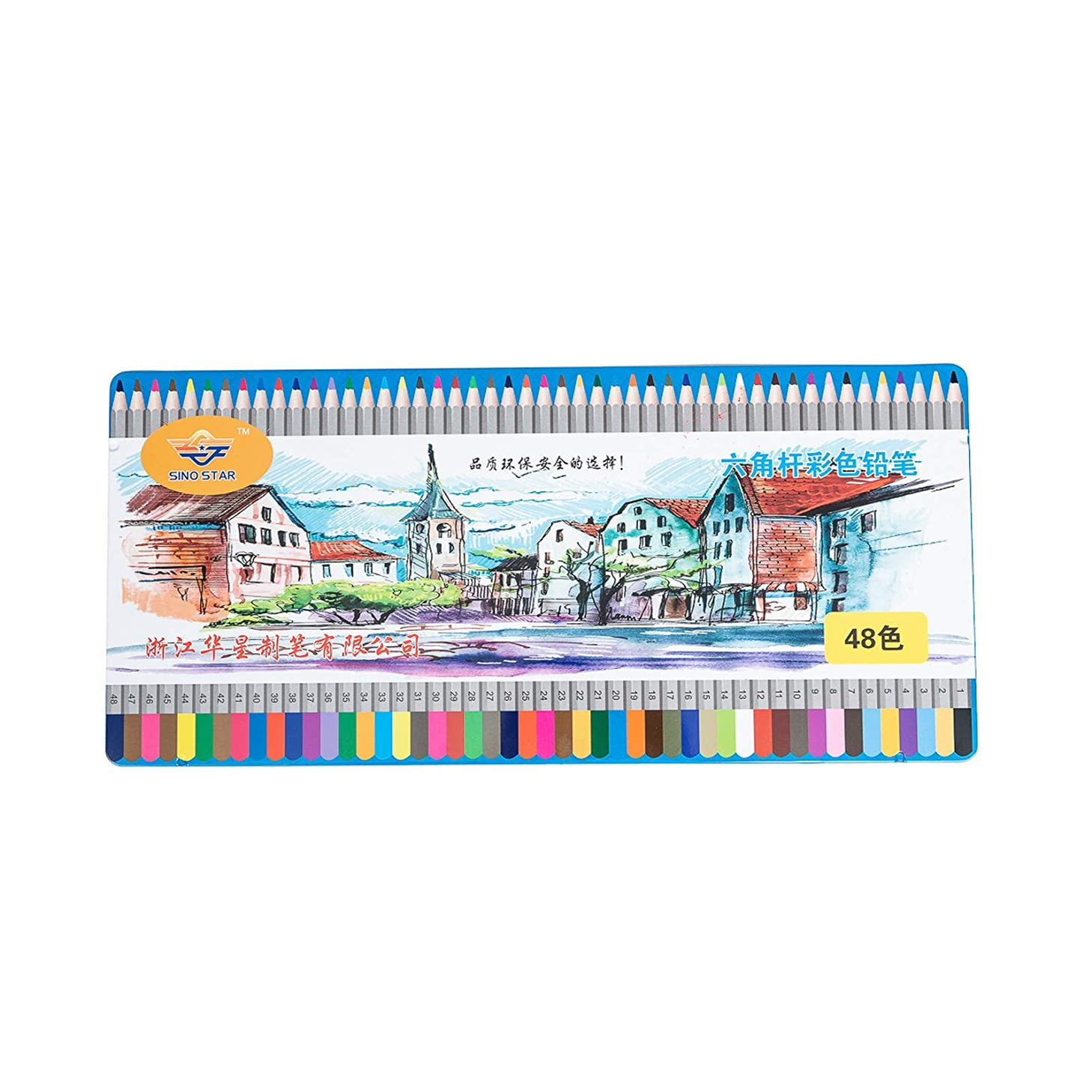 Asian Home SINO Star Colored Pencils for Artists of All Levels, Drawing, Sketching, Coloring, Firm Grip, Vibrant Colors, 48 Count