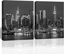 Gardenia Art Black and White Picture New York City Manhattan Midtown Buildings Home Decoration Bathroom Living Room bar Accessories and Decor Stretched and Framed 16x20 in 2 PCS