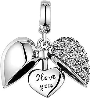 Sug Jasmin Breloque avec Inscription I Love You Forever pour Bracelets /à Breloques europ/éens